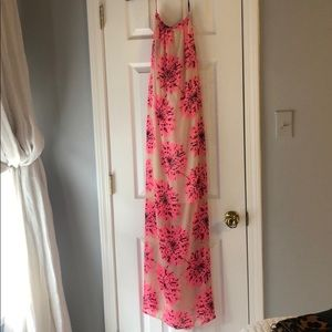 Dresses & Skirts - Hot pink flowers halter maxi